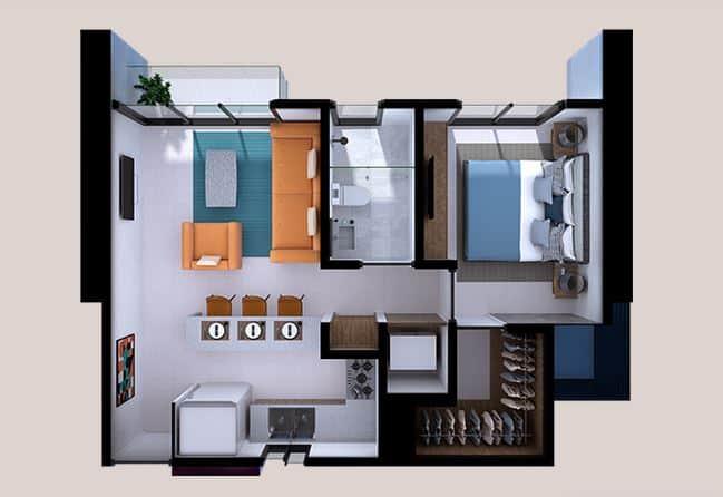 Departamento Alameda - 54 m2; 1 Rec