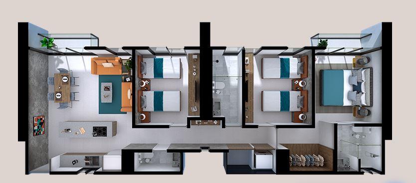 Departamentos Alfa - 104 m2; 3 Rec