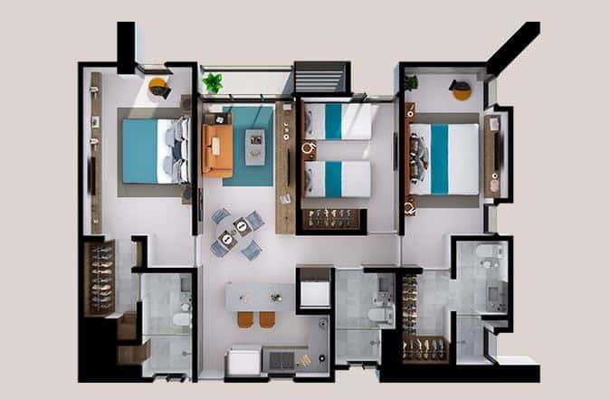 Departamentos Alfa  B - 106.3 m2; 3 Rec