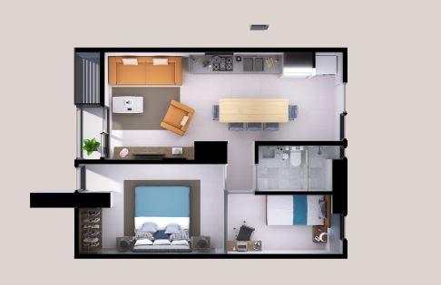 Departamentos Lucía - 60.9 m2; 2 Rec