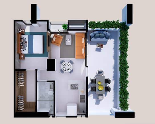 Departamentos Lucía Plus - 84.8 m2; 1 Rec