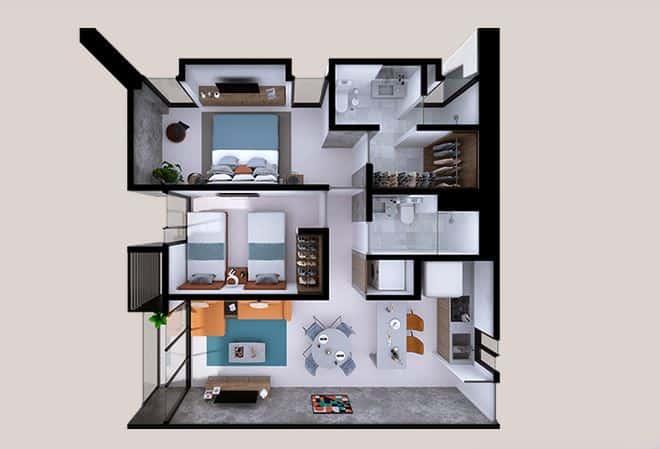 Departamento Marco - 77 m2; 2 Rec