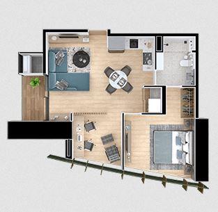 Departamentos C - 1 Recamara; 70.51 m2