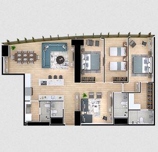 Departamento J - 3 Recamaras; 153.39 m2