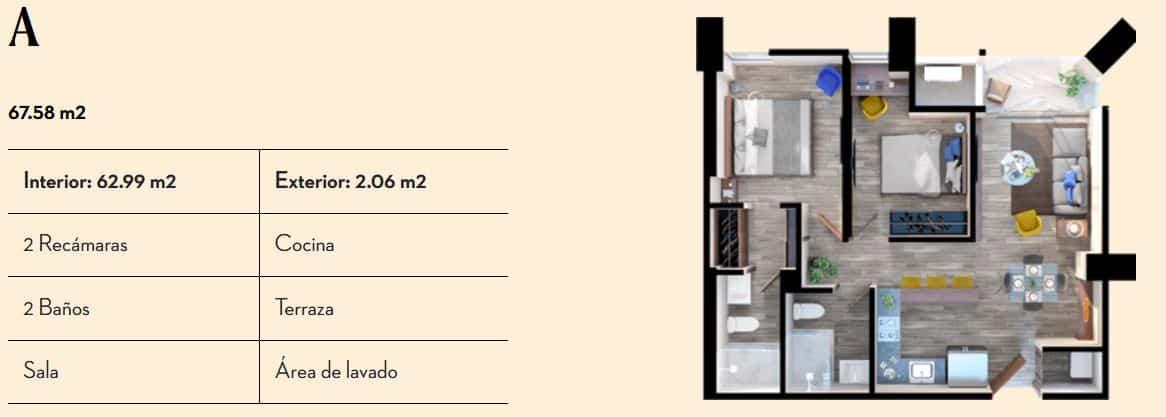 Departamento Tipo A de 67.58 m2 - Vía Zócalo