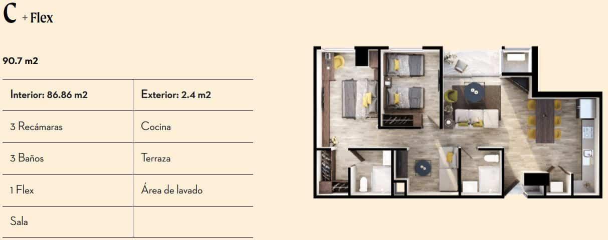 Departamentos Tipo C de 90.7 m2 - Vía Zócalo