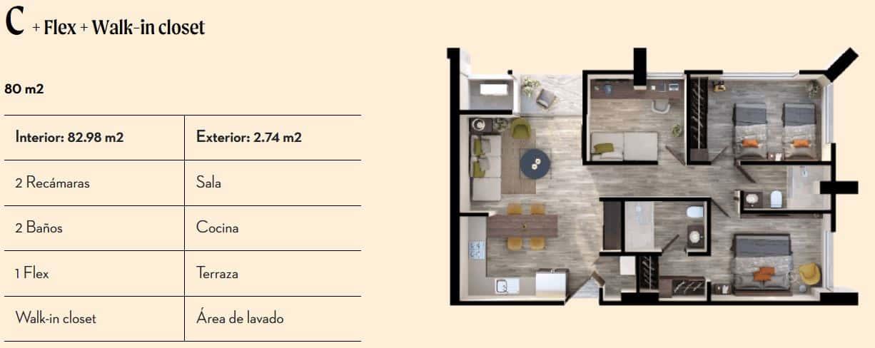Departamento Tipo C de 80 m2 - Vía Zócalo