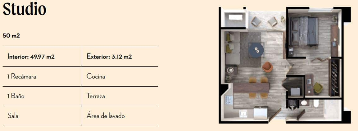Studio de 50 m2 - Vía Zócalo