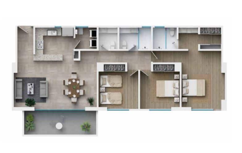 Departamento 132.45 m2 - 3 Rec