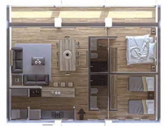 Departamento A 99.66 m2 - 2 Recámaras