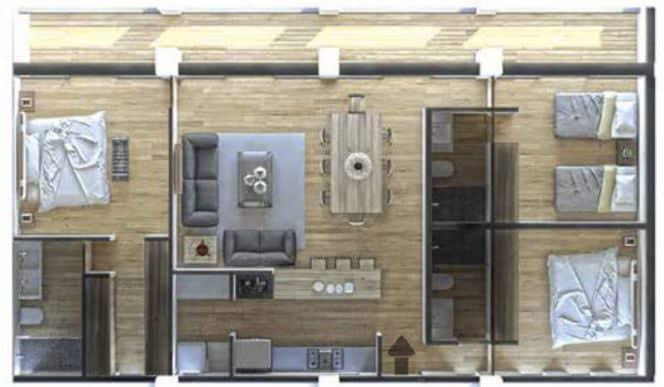 Departamento B 132.88 m2 - 3 Recámaras