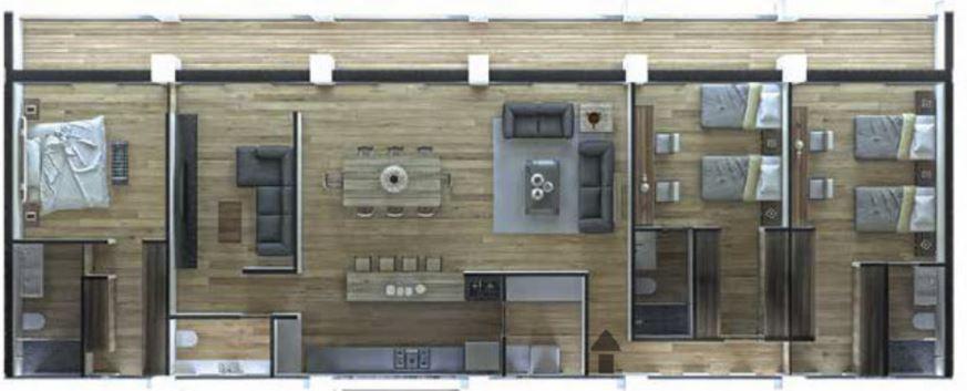 Departamento D 199.32 m2 - 3 Recámaras