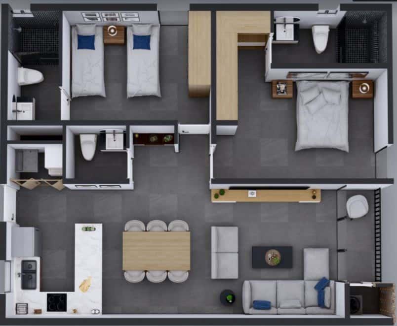 Departamento 95m2 ; 2 Rec, 2.5 Baños