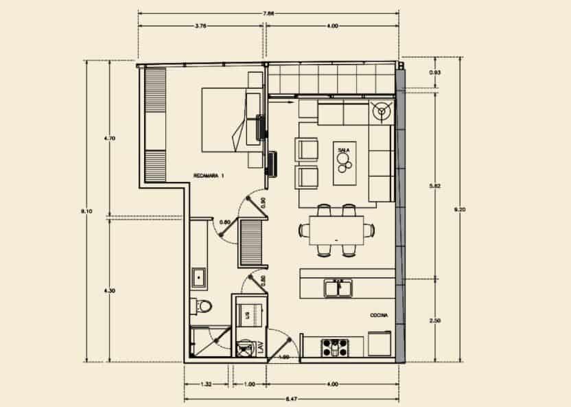 Departamento de 1 Rec, 1 Baño - 70.04 m2