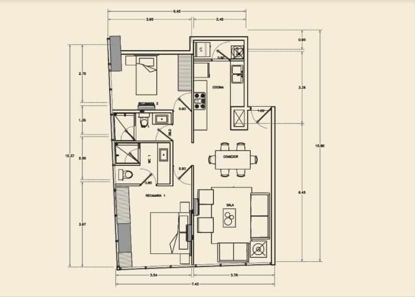 Departamento de 2 Rec, 2 Baños - 80.12 m2