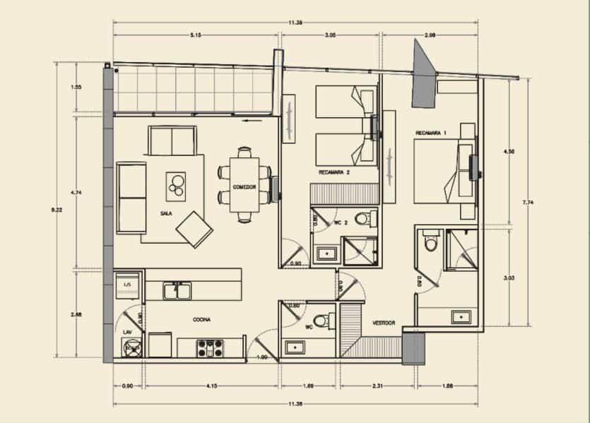 Departamento de 2 Rec, 2.5 Baños - 106.32 m2