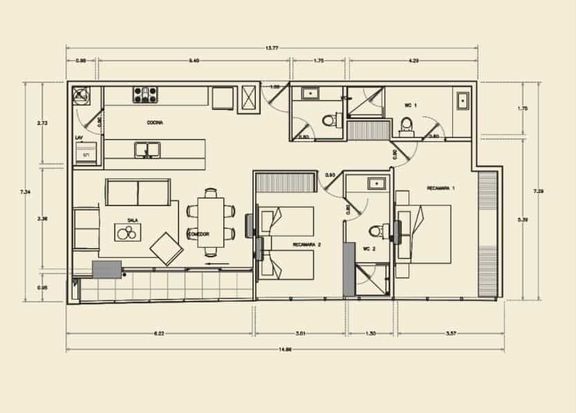 Departamento de 2 Rec, 2.5 Baños - 110.03 m2