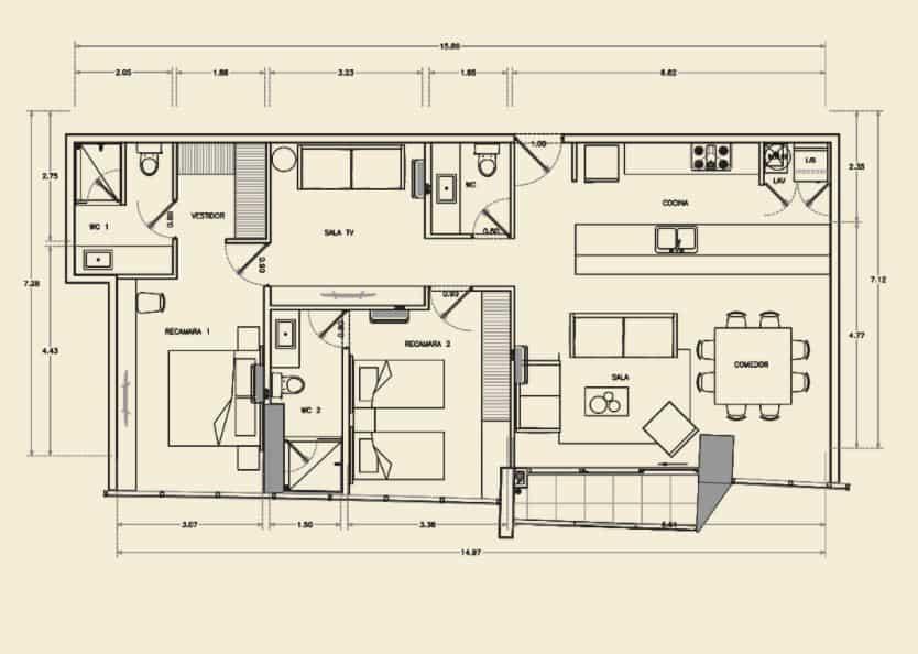 Departamento de 2 Rec, 2.5 Baños - 120.10 m2