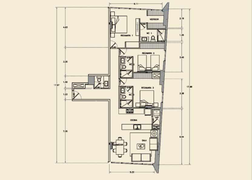 Departamento de 3 Rec, 3.5 Baños - 125.60 m2